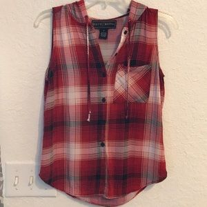 Plaid button down sleeveless shirt with a hoodie